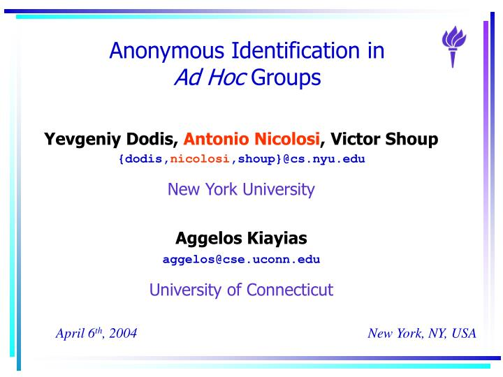 anonymous identification in ad hoc groups n.