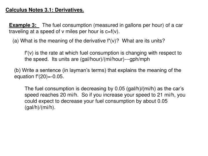 Calculus Notes 3.1: Derivatives.