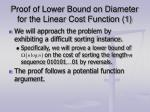 proof of lower bound on diameter for the linear cost function 1