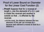 proof of lower bound on diameter for the linear cost function 2