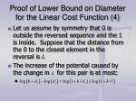 proof of lower bound on diameter for the linear cost function 4