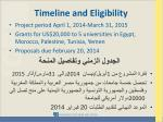 timeline and eligibility