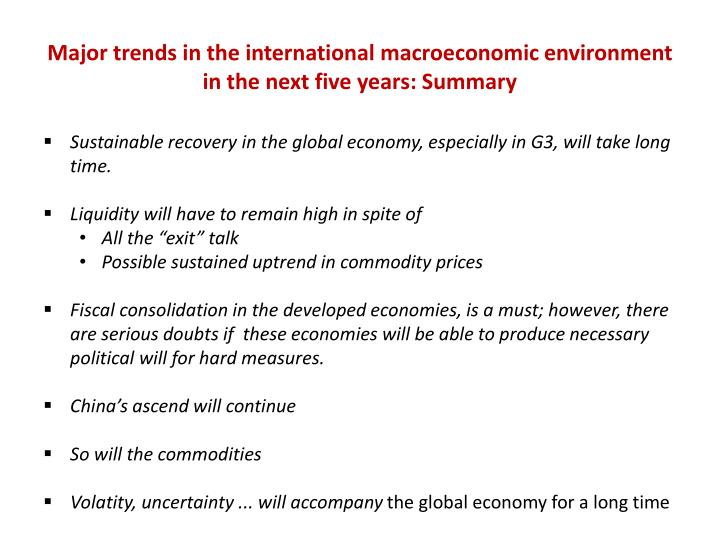 Major trends in the international macroeconomic environment in the next five years: Summary