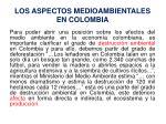 los aspectos medioambientales en colombia