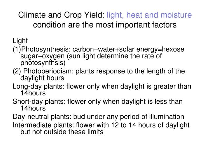 Climate and Crop Yield:
