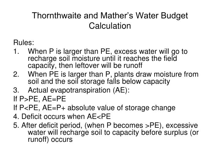 Thornthwaite and Mather's Water Budget Calculation