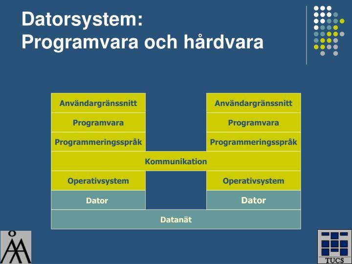Datorsystem programvara och h rdvara