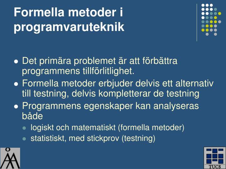 Formella metoder i programvaruteknik