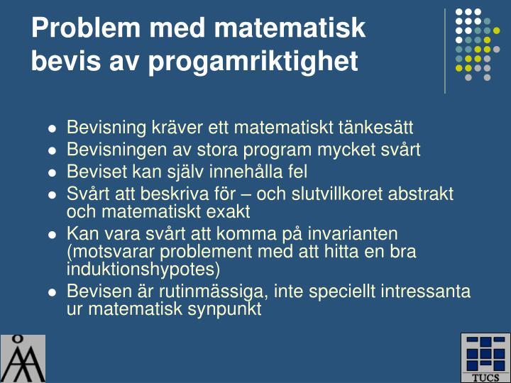 Problem med matematisk bevis av progamriktighet