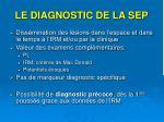 le diagnostic de la sep