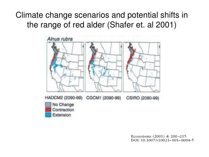 Climate change scenarios and potential shifts in the range of red alder (Shafer et. al 2001)