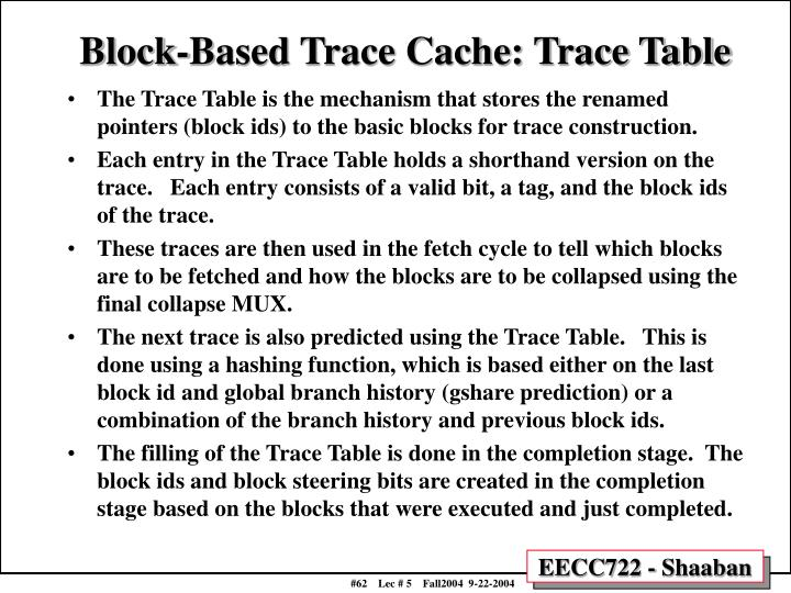 Block-Based Trace Cache: Trace Table