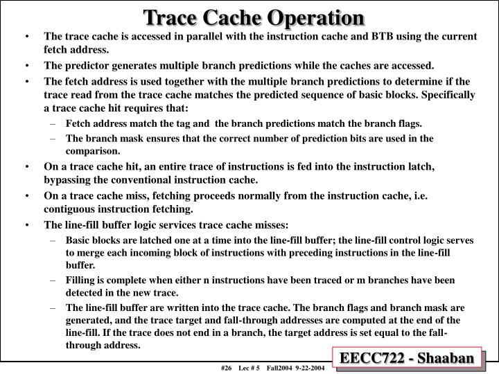 Trace Cache Operation