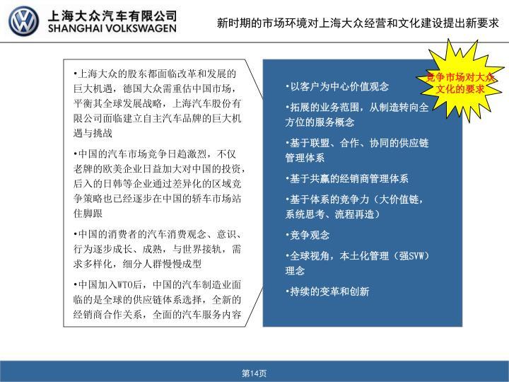 新时期的市场环境对上海大众经营和文化建设提出新要求
