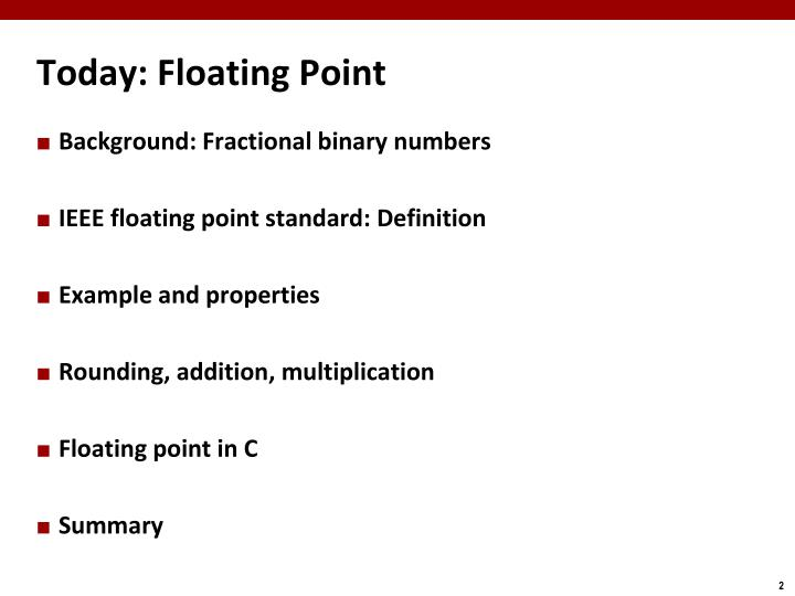 Today floating point