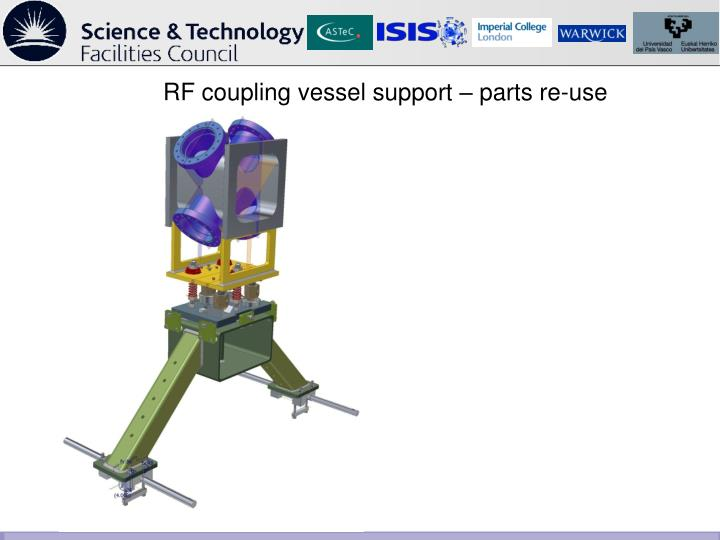 RF coupling vessel support – parts re-use