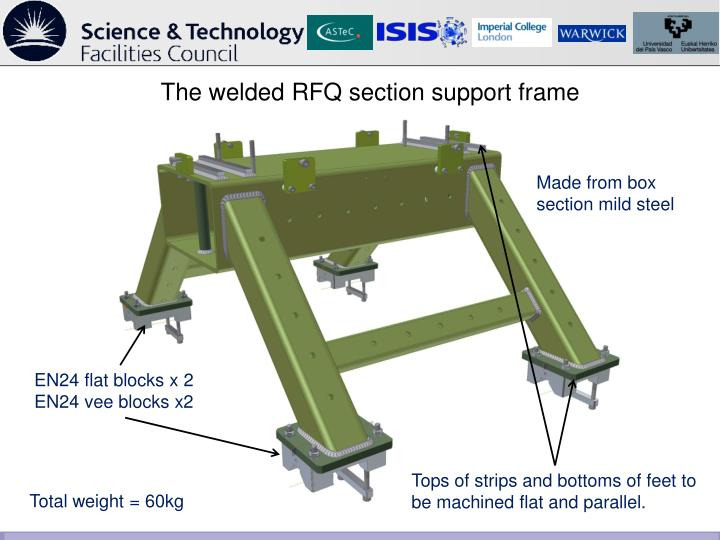 The welded RFQ section support frame