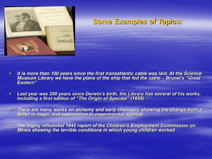 Some examples of topics