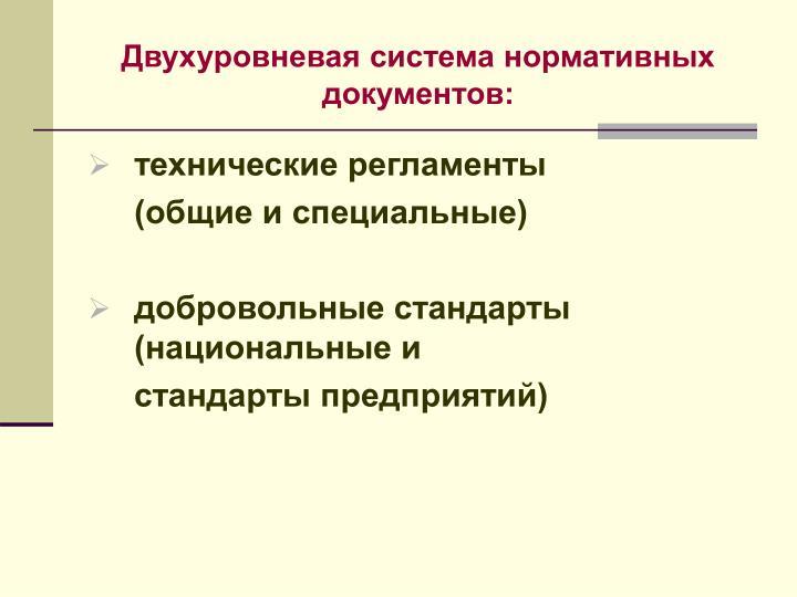 Двухуровневая система нормативных документов: