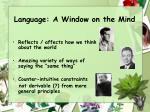 language a window on the mind