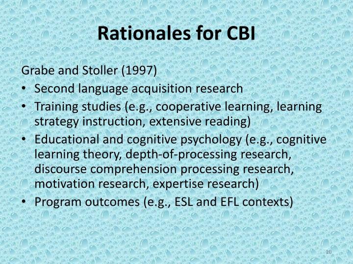Rationales for CBI