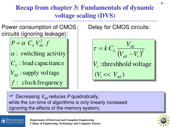 Recap from chapter 3: Fundamentals of dynamic voltage scaling (DVS)