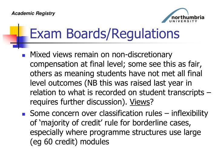 Exam Boards/Regulations