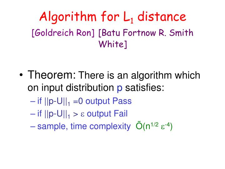 Algorithm for L