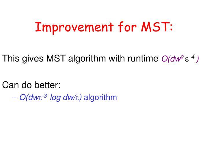 Improvement for MST: