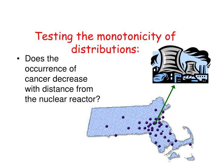 Testing the monotonicity of distributions: