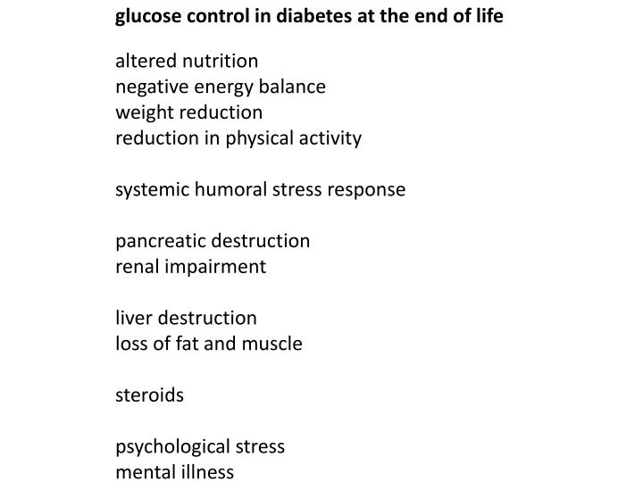 glucose control in diabetes at the end of life