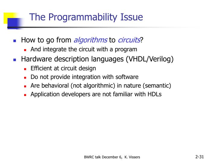 The Programmability Issue