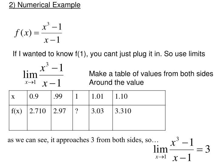 2) Numerical Example