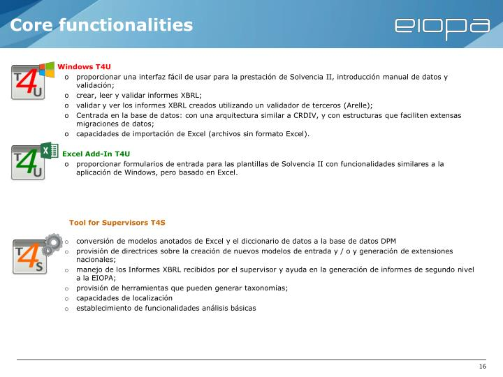 Core functionalities
