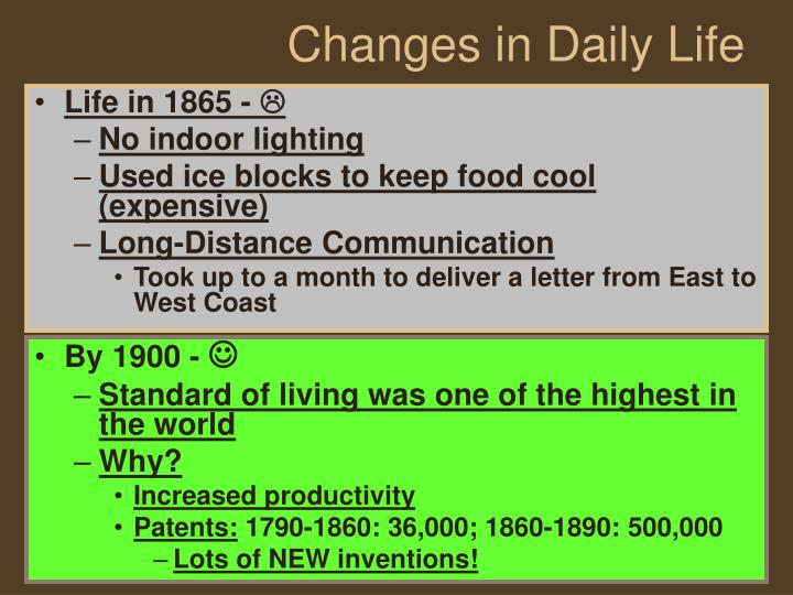 Changes in daily life
