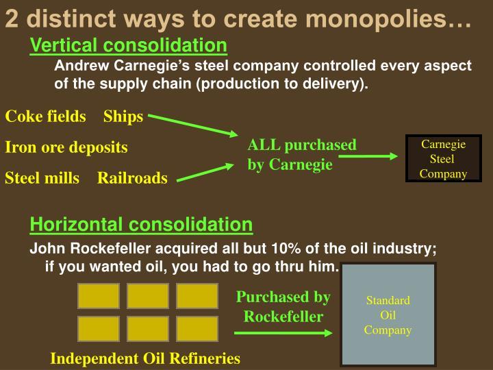 2 distinct ways to create monopolies…