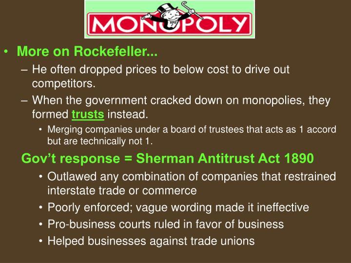 More on Rockefeller...