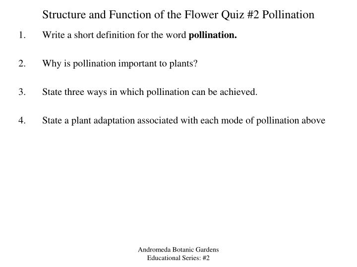 Ppt structure and function of the flower powerpoint presentation structure and function of the flower quiz 2 pollination ccuart Image collections