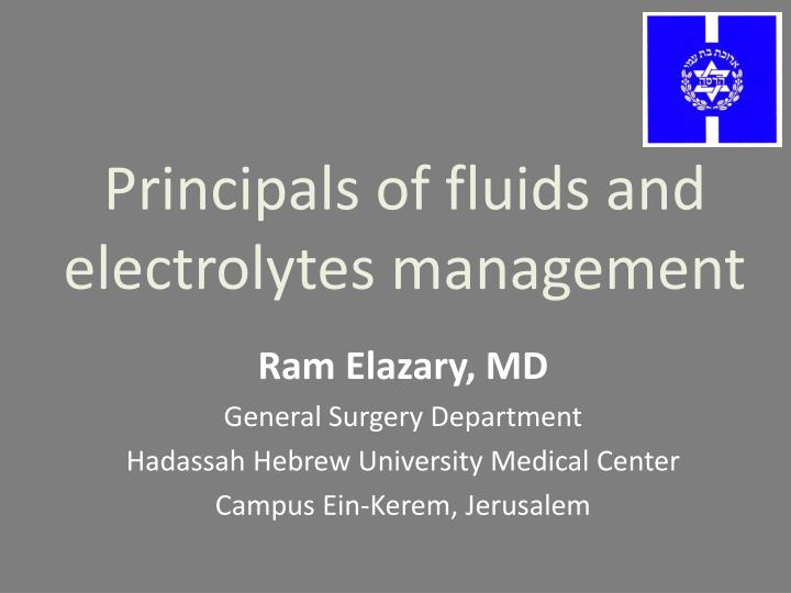 principals of fluids and electrolytes management n.