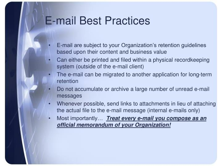 E-mail Best Practices