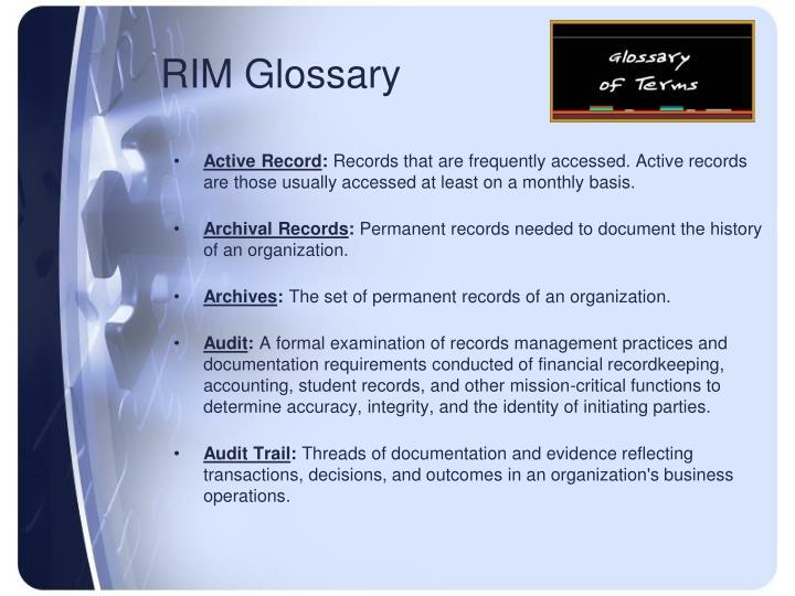 RIM Glossary