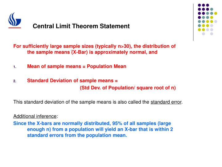 Central Limit Theorem Statement