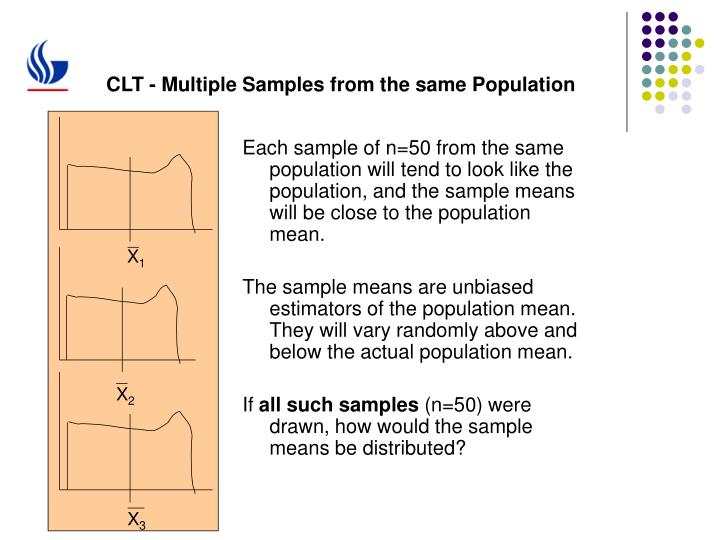 Clt multiple samples from the same population