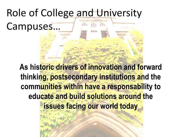 Role of college and university campuses