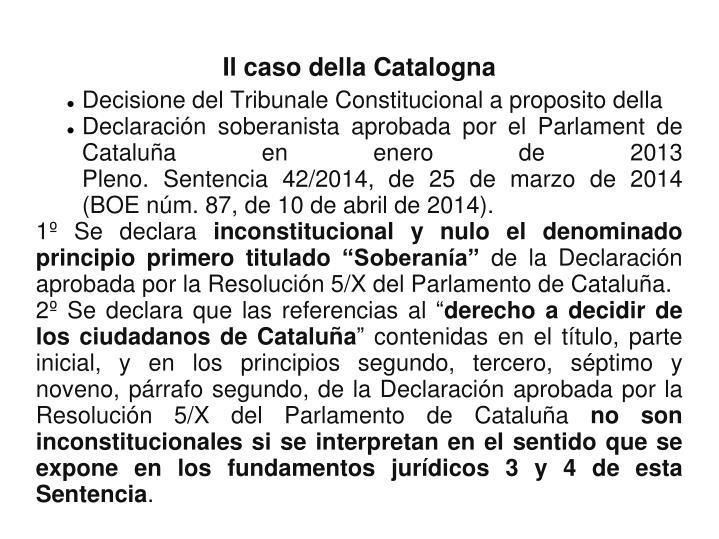 Decisione del Tribunale Constitucional a proposito della