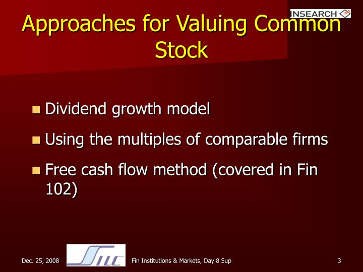 Approaches for valuing common stock