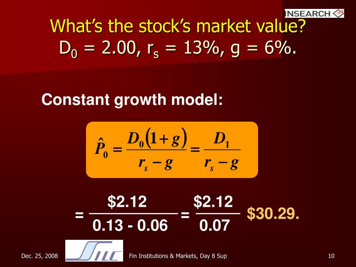 What's the stock's market value?