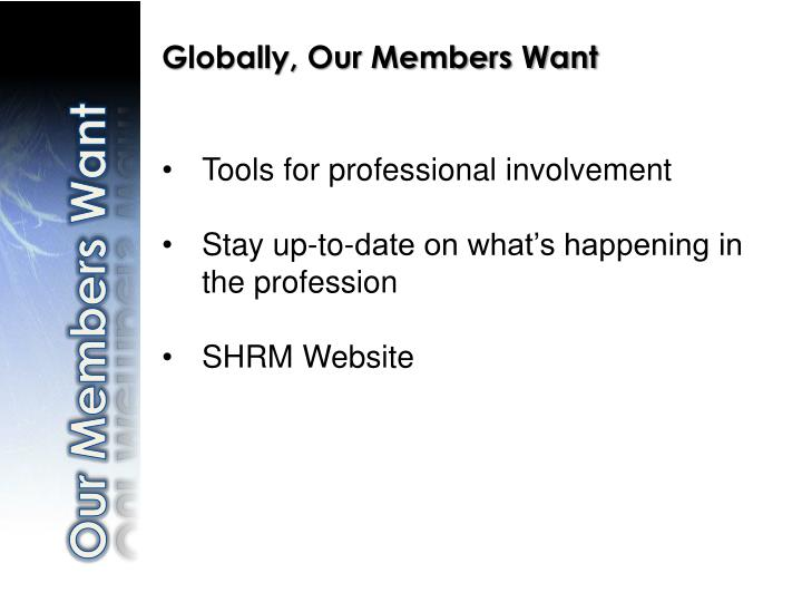 Globally, Our Members Want