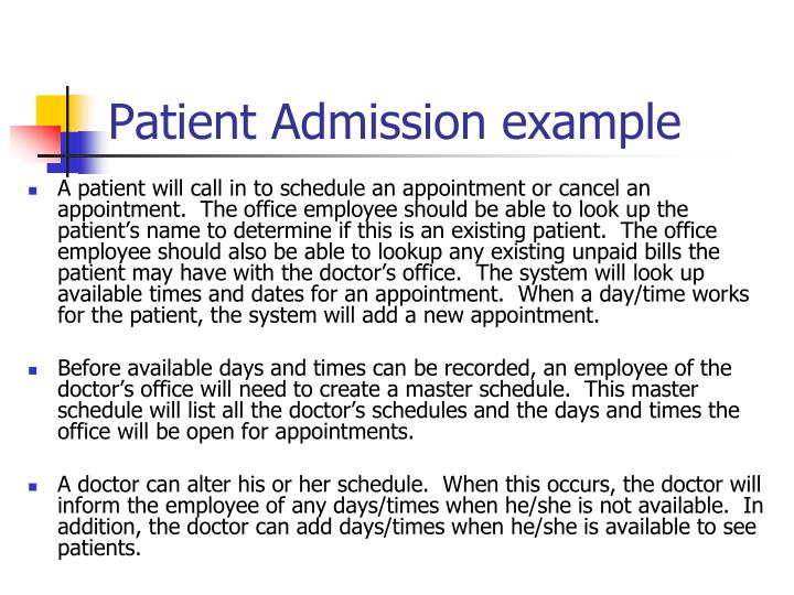 Patient admission example