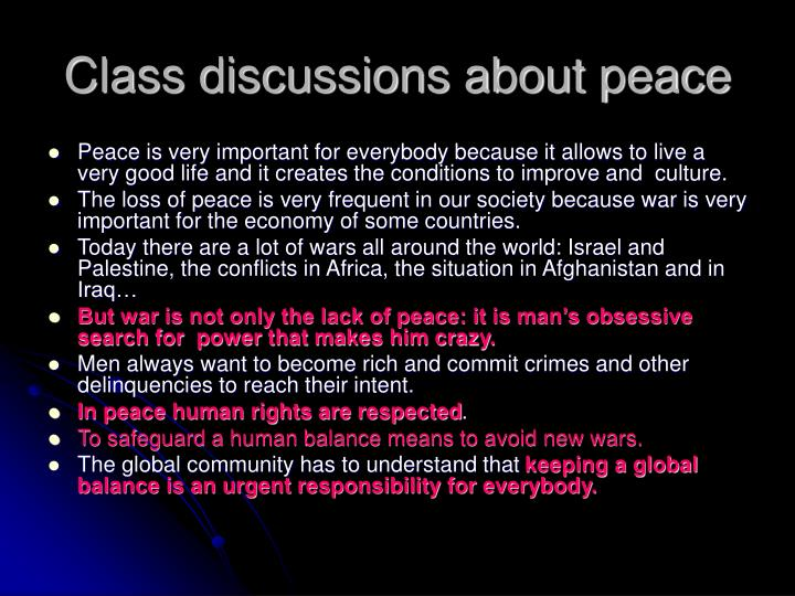 Class discussions about peace
